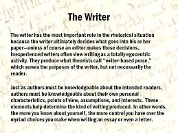 the rhetorical situation created by dr gary cale for the language  3 the writer the writer has the most important role in the rhetorical situation because the writer ultimately decides what goes into his or her paper unless