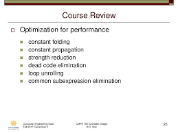 Constant Propagation In Compiler Design Cmpe 152 Compiler Design December 5 Class Meeting Ppt