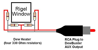 """dewbusterâ""""¢ for a rigel quickfinder the resistors are wired as shown above and glued to the inside of the black plastic housing you must allow about 1 8 separation"""