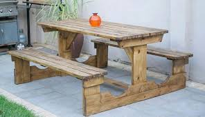 picnic bench walk in bench in oak stain