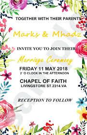 Wedding Invitation Set Templates Floral Wedding Invitation Template Customized Personalized Floral