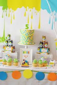 boys neon art themed birthday party dessert table decoration ideas