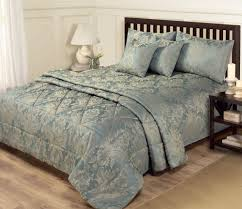 piece jacquard blue  gold bedding  king size duvet set