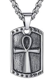 er unaphyo mens stainless steel key of life ankh cross pendant necklace square dog tag style with chain 70127