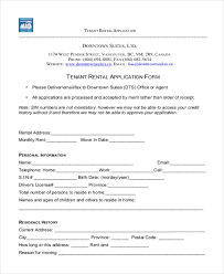 Free 9 Sample Tenant Application Forms In Pdf Doc