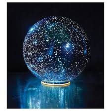 lighted mercury glass sphere blue