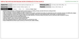 Welder Helper Job Description Welder Helper Job Resume Sample