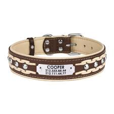 leather dog collar personalized nameplate studded braided leather dog collar personalized nameplate studded braided
