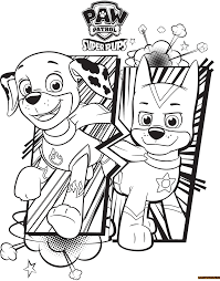 Small Picture Paw Patrol Super Pups Chase And Marshall Coloring Page Free