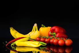 fruits and vegetables still life and black background free stock photo