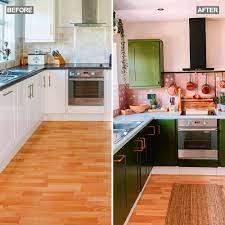 Homeowner Wows With Diy Green Painted Kitchen Cabinets Pink Titles