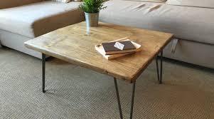 rustic wood scaffold board coffee table
