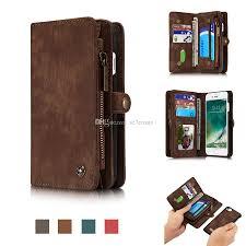 caseme for iphone 8 7 plus wallet case handmade cowhide leather large capacity detachable zipper wallet case for iphone 8 7 plus