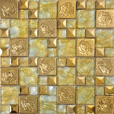 gold stainless steel flower patterns metal and glass mosaic tiles pyramid crystal glass wall stickers kitchen