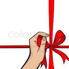 pop art man hand hold red ribbon gift box holiday birthday ic book vector halftone sketch ilration vine retro wow party cartoon