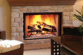open front wood burning fireplace