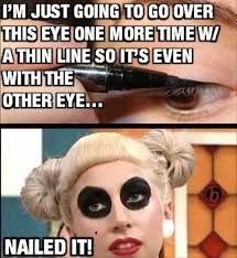 funny caption woman puts on little eye liner looks like ra makeup tutorial from top 100 cool caption pics photoemes