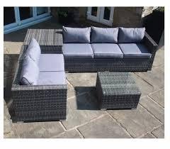 Grey Rattan Corner Sofa Set With Grey Cushions & Corner Storage