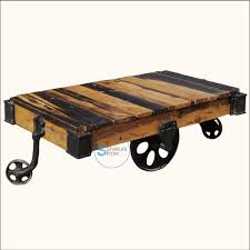 reclaimed wood pallet industrial coffee table on wheels