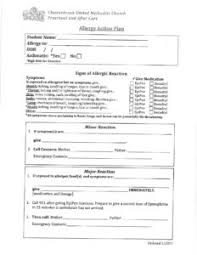 Allergy Action Plan & Medical Consent Form | Chesterbrook Umc Preschool