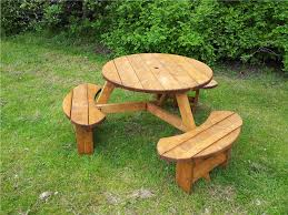 6 seat treated round picnic table