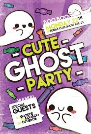 cute ghost party flyer template by flyermarket graphicriver cute ghost party violett jpg