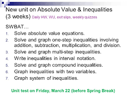 new unit on absolute value inequalities 3 weeks daily hw wu