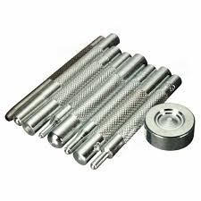 9pcs carbon steel leather craft tool punch snap rivet setter kit diy leathercraft tools