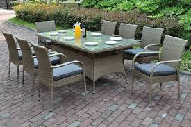 p225 9pc 9 pc liz kona light collection aluminum frame and resin wicker glass patio table and chair set