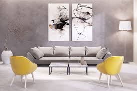 nice wall art decor for living room yellow gray bedding and blue curtains what color goes