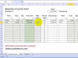 savings excel spreadsheet calculate annual costs and savings with excel template youtube