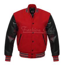 men s varsity real leather wool letterman jacket red w black leather sleeves