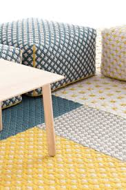 woven siali by charlotte lancelot for gan footstool rug yellow blue small