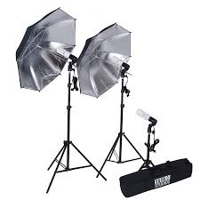 photography photo portrait studio 600w day light black silver umbrella continuous lighting kit alternate view
