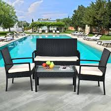 patio table and chair sets 4 outdoor patio furniture set table chair sofa cushioned seat garden