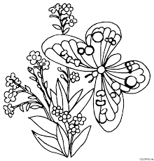 Butterfly And Flower Colouring Pages Coloring Home