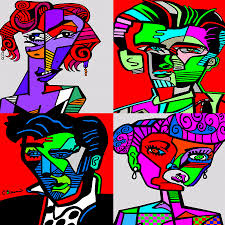 famous people painting abstract pop art by c baum