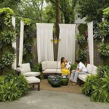 curtains nestled in greenery providing privacy