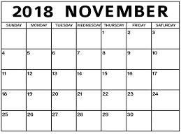 Free Sample November 2018 Calendar Template | November 2018 Calendar ...