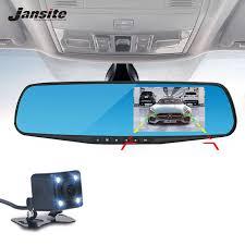 <b>Jansite</b> 1080P <b>Car Dvr</b> Blue Rearview Mirror <b>Dual</b> Lens <b>Car Camera</b> ...