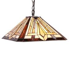 arts crafts mission stained glass hanging ceiling pendant light lamp 16 shade