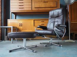 mid century brown leather swivel reclining chair footstool from skoghaug industri for at pamono