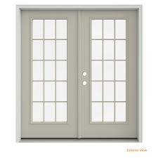 desert sand painted steel right hand inswing 15 lite glass stationary active patio door