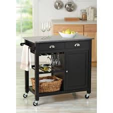 Granite Top Kitchen Cart Better Homesgardens Bhg Deluxe Kitchen Cart Island Black