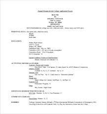 Resume Template For College Application Resume Examples For College ...