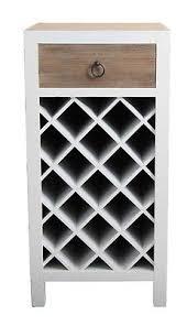 Casa Uno WooDen Wine Rack 1 Drawer Storage Cabinet Bottle HolDer Brown/White  NEW