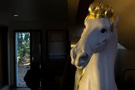 yorburg is restoring this antique carousel horse for a private collector