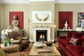 luxurious brown leather chair and red sofa for living room with fireplace and beige wall paint color ideas