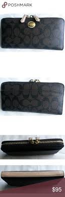 Coach Large Wallet In Signature Black Brown