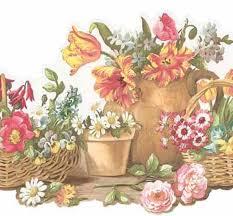 Flower Wall Paper Border Basket Of Flowers Wall Border Wallpaper Border Fk78464dc